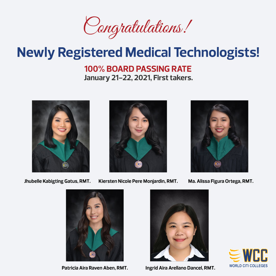 January 2021 Medical Technologist Board Examination. 100% Passing Rate!
